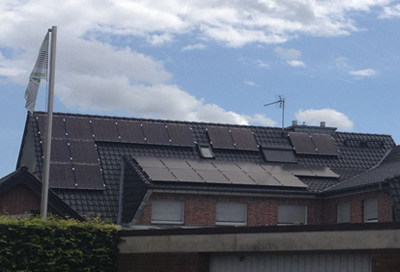 PV installation 10 kWp with black panels on black roof
